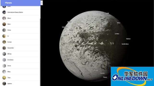 谷歌地图延伸至太空 加入17颗行星和卫星地图