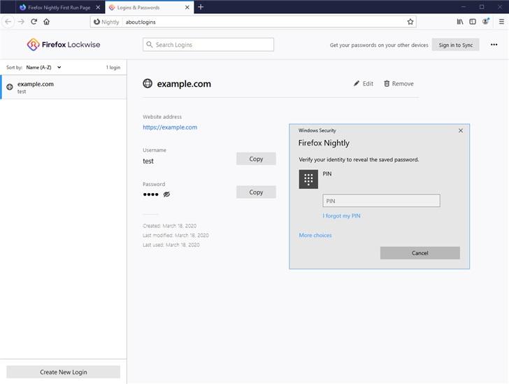 Firefox将要求输入Windows密码来与管理功能交互