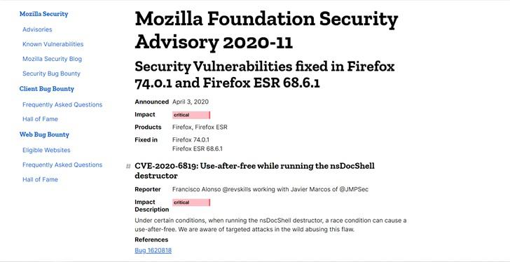 Firefox 修复两个零日漏洞,建议用户尽快升级