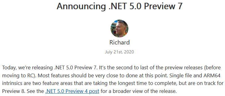 .NET 5.0 Preview 7 发布