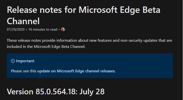 微软 Edge 浏览器 Beta 85.0.564.18 更新:支持本地同步收藏夹、设置