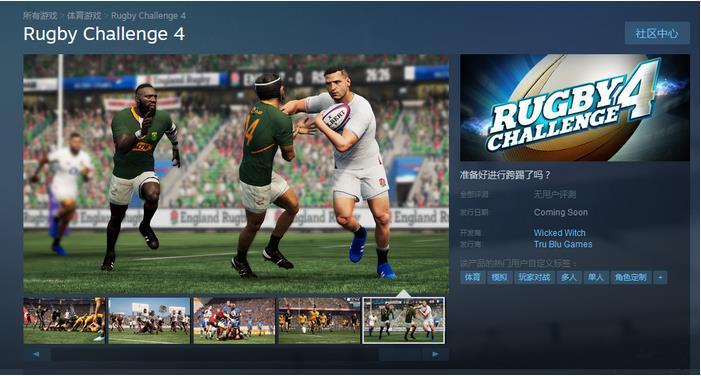 体育模拟新游《橄榄球挑战赛4》上架Steam
