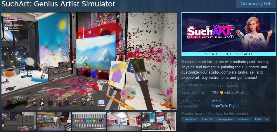 模拟新游《SuchArt:天才艺术家模拟器》上架Steam