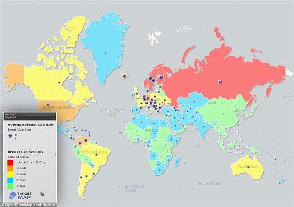 全球女性胸部最大国家