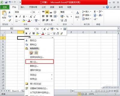 Excel2010插入单元格、行和列方法