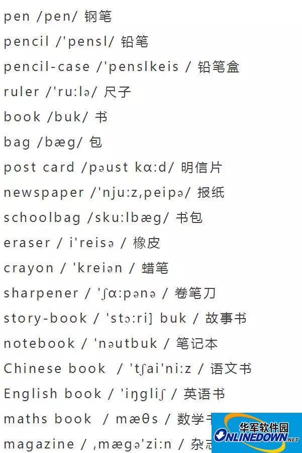 暑假复习资料:小学英语单词分类大全(附音标)