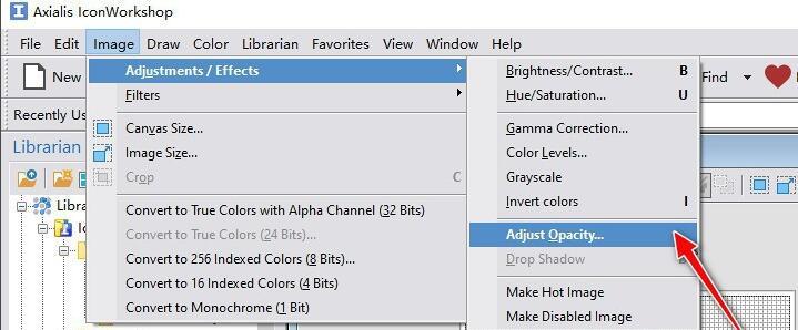 如何使用IconWorkshop工具设置图标的不透明度