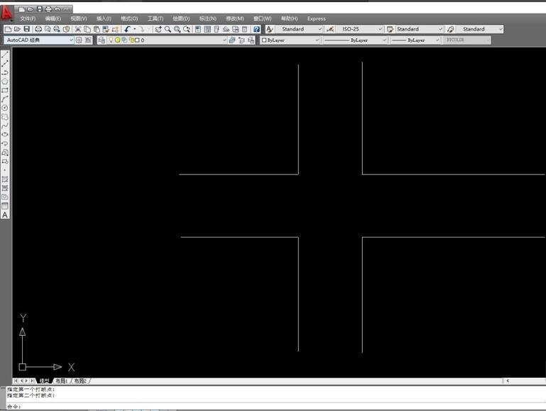CAD2009怎样画十字路?