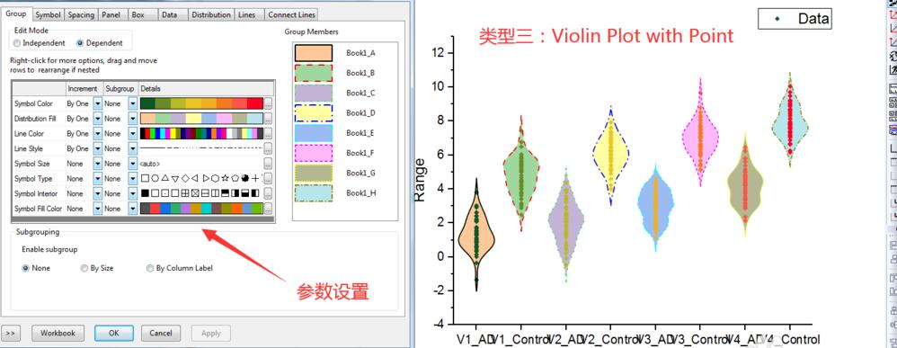 Origin如何绘制常规、分边小提琴图并导出图像?