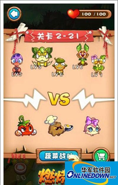 燃烧的蔬菜3 2-21新场景的战斗三星通关
