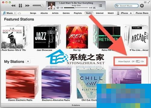 MAC中将iTunes Radio的歌词自动过滤功能取消的方法